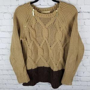 MICHAEL MK | cable knit colour block zip sweater